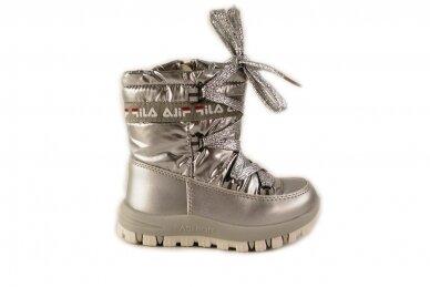 """""""Sidabriniai"""" boloninės medžiagos su užtrauktuku šone ir vilnos kailiu Bessky žieminiai batai mergaitėms 9272"""