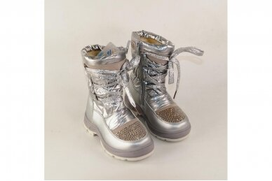 """""""Sidabriniai"""" boloninės medžiagos su užtrauktuku šone ir vilnos kailiu Bessky žieminiai batai mergaitėms 9278 3"""