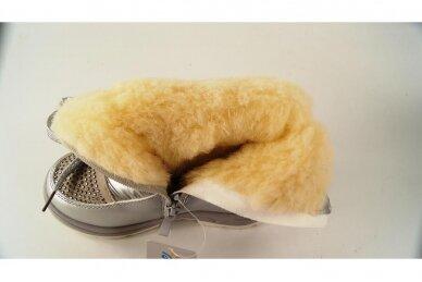 """""""Sidabriniai"""" boloninės medžiagos su užtrauktuku šone ir vilnos kailiu Bessky žieminiai batai mergaitėms 9278 4"""