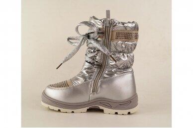 """""""Sidabriniai"""" boloninės medžiagos su užtrauktuku šone ir vilnos kailiu Bessky žieminiai batai mergaitėms 9278 2"""