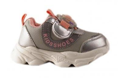 """""""Sidabriniai"""" užsegami lipuku su lemputėmis ant lipuko papuošti kaspinėliu lengvučiai sportiniai bateliai mergaitėms"""