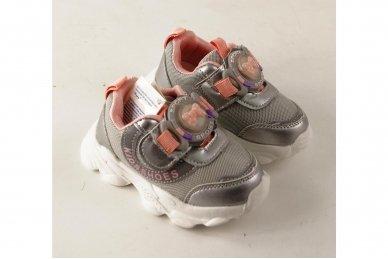 """""""Sidabriniai"""" užsegami lipuku su lemputėmis ant lipuko papuošti kaspinėliu lengvučiai sportiniai bateliai mergaitėms 3"""