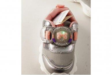 """""""Sidabriniai"""" užsegami lipuku su lemputėmis ant lipuko papuošti kaspinėliu lengvučiai sportiniai bateliai mergaitėms 4"""