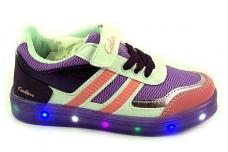 Šviečiantys violetiniai-balti LED sportiniai bateliai mergaitėms