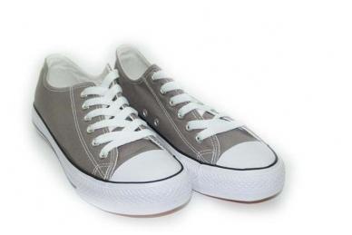 Pilki tekstiliniai sportiniai bateliai baltu padu 3