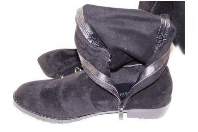 Super ilgi medžiaginiai (veliūriniai) papuošti kniedėmis su užtrauktuku šone moteriški batai 8822 4