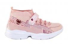 Šviesiai ružavi medžiaginiai  įmaunami užsegami lipduku suvarstyti gumyte Clibee sportiniai batai mergaitėms 4480r