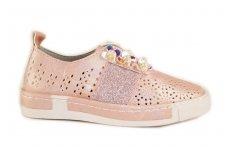 Šviesiai ružavi skylėti įkišami su perlamutrinėmis gėlytėmis Clibee laisvalaikio batai mergaitėms