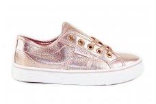 Šviesiai ružavi suvarstomi medžiaginiai Clibee laisvalaikio batai mergaitėms