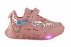 Šv.ružavi suvarstyti gumyte su lipuku LED Bessky sportiniai batukai mergaitėms 9786