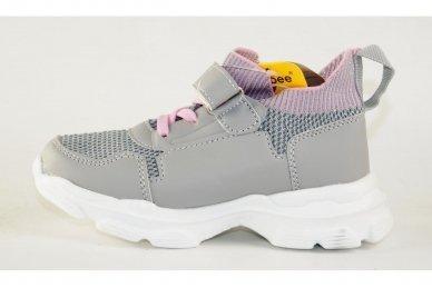 Šviesiai pilki įmaunami užsegami lipduku suvarstyti gumyte Clibee sportiniai batai mergaitėms 4455 2