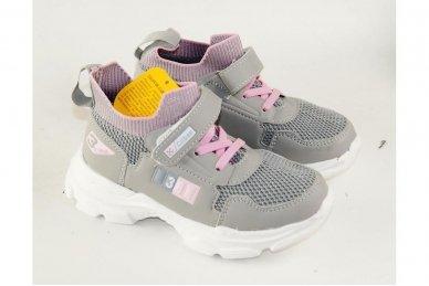 Šviesiai pilki įmaunami užsegami lipduku suvarstyti gumyte Clibee sportiniai batai mergaitėms 4455 3