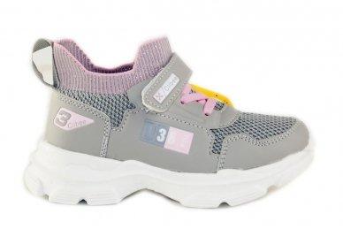Šviesiai pilki įmaunami užsegami lipduku suvarstyti gumyte Clibee sportiniai batai mergaitėms 4455