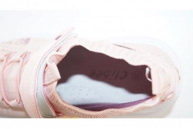 Šviesiai pilki įmaunami užsegami lipduku suvarstyti gumyte Clibee sportiniai batai mergaitėms 4455 4