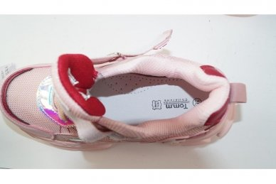 Šviesiai pilki užsegami lipduku suvarstyti gumyte  Tomm sportiniai bateliai mergaitėms 7491 4