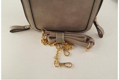 Chaki spalvos nedidelė moteriška rankinė per petį su aukso spalvos užtrauktukais 900653 4