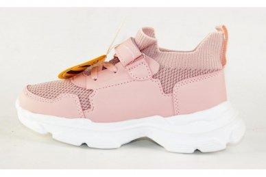 Šviesiai ružavi įmaunami užsegami lipduku suvarstyti gumyte Clibee sportiniai batai mergaitėms 4455 2
