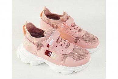 Šviesiai ružavi įmaunami užsegami lipduku suvarstyti gumyte Clibee sportiniai batai mergaitėms 4455 3