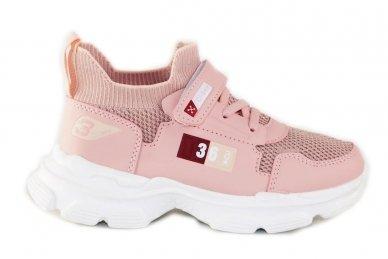 Šviesiai ružavi įmaunami užsegami lipduku suvarstyti gumyte Clibee sportiniai batai mergaitėms 4455