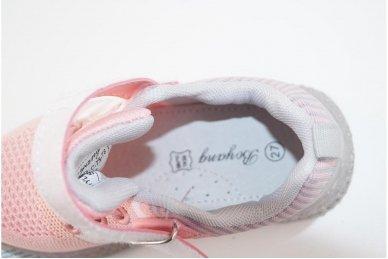 Šviesiai ružavi medžiaginiai su lemputėmis užsegami lipduku suvarstyti gumyte sportiniai batai mergaitėms 4