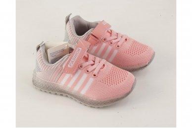 Šviesiai ružavi medžiaginiai su lemputėmis užsegami lipduku suvarstyti gumyte sportiniai batai mergaitėms 3