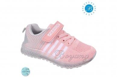 Šviesiai ružavi medžiaginiai su lemputėmis užsegami lipduku suvarstyti gumyte sportiniai batai mergaitėms 5