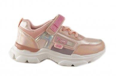 Šviesiai ružavi užsegami lipduku suvarstyti gumyte  Clibee sportiniai batai mergaitėms 4486