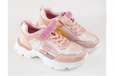 Šviesiai ružavi užsegami lipduku suvarstyti gumyte  Clibee sportiniai batai mergaitėms 4486 3