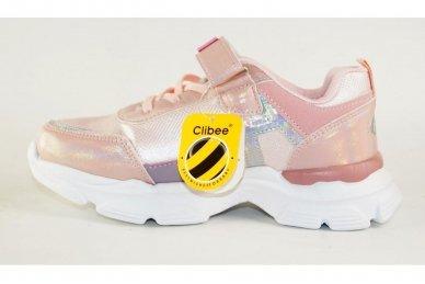 Šviesiai ružavi užsegami lipduku suvarstyti gumyte  Clibee sportiniai batai mergaitėms 4486 2