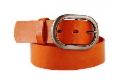 Šv.rudas-oranžinis 4cm pločio odinis CezMar moteriškas diržas su sagtimi PD-4-69 8538
