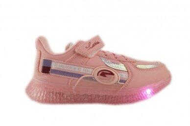 Šv.ružavi suvarstyti gumyte su lipuku LED Bessky sportiniai batukai mergaitėms