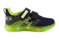 Tamsiai mėlyni medžiaginiai su lemputėmis užsegami lipdukais Clibee sportiniai batai berniukams