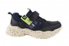 Tamsiai mėlyni suvarstyti gumyte su lipuku Clibee sportiniai bateliai berniukams