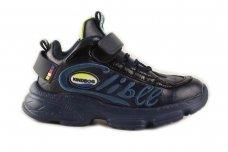 Tamsiai mėlyni suvarstyti gunmyte užsegami lipduku Clibee sportiniai batai berniukams