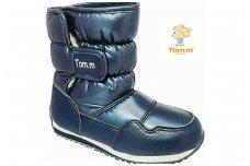 Tamsiai mėlyni užsegami lipduku boloninės medžiagos viršumi sniego batai su vilnos kailiu