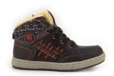 Tamsiai pilki suvarstomi su užtrauktuku šone žieminiai batai berniukams su kailiu 7398