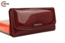 Tamsiai raudona odinė lakuota Angela Moretti moteriška piniginė su RFID apsauga 522r