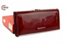 Tamsiai raudona odinė lakuota Angela Moretti moteriška piniginė su RFID apsauga 1518r