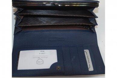 Tamsiai mėlyna odinė Angela Moretti moteriška piniginė 176a-4 3