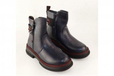 Tamsiai mėlyni su užtrauktuku šone Tom.m žieminiai batai mergaitėms su vilnos kailiu 9758 4