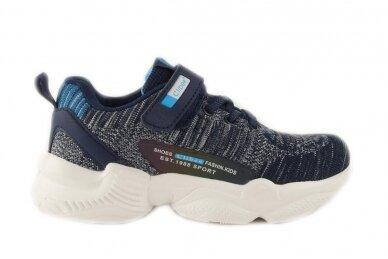 Tamsiai mėlyni suvarstyti gumyte su lipuku medžiaginiai Clibee sportiniai bateliai berniukams 9923