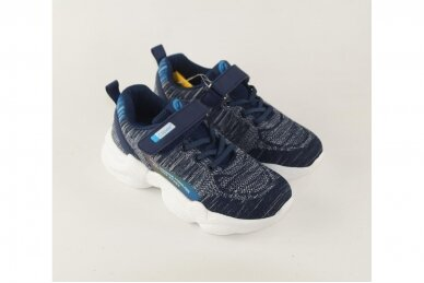Tamsiai mėlyni suvarstyti gumyte su lipuku medžiaginiai Clibee sportiniai bateliai berniukams 9923 3