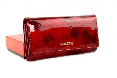 Tamsiai raudona odinė lakuota pagražinta drugeliais Angela Moretti moteriška piniginė 0425r
