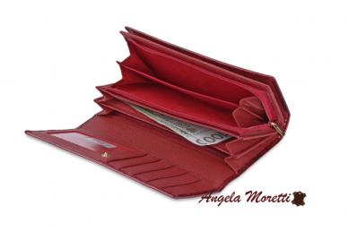Tamsiai raudona odinė lakuota pagražinta drugeliais Angela Moretti moteriška piniginė 0425r 3