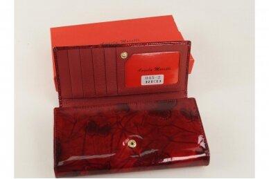 Tamsiai raudona odinė lakuota pagražinta drugeliais Angela Moretti moteriška piniginė 0425r 4