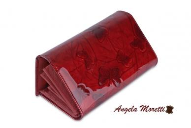 Tamsiai raudona odinė lakuota pagražinta drugeliais Angela Moretti moteriška piniginė 0425r 2