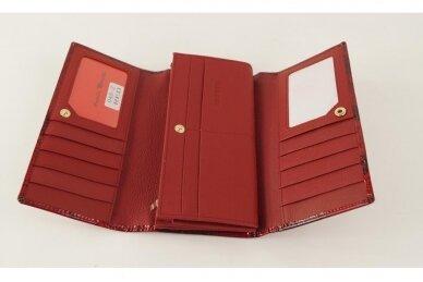 Tamsiai raudona odinė lakuota pagražinta drugeliais Angela Moretti moteriška piniginė 0425r 6