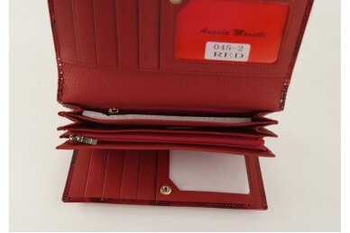 Tamsiai raudona odinė lakuota pagražinta drugeliais Angela Moretti moteriška piniginė 0425r 7
