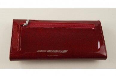 Tamsiai raudona odinė lakuota Angela Moretti moteriška piniginė 522r 2