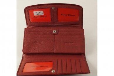 Tamsiai raudona odinė lakuota Angela Moretti moteriška piniginė 522r 3